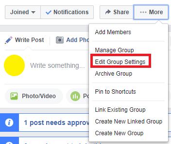 edit facebook group settings