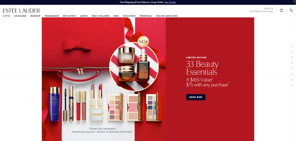 Estee Lauder home page